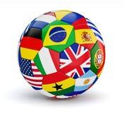 Piłki nożnej piłka z światowymi kraj flaga odizolowywać ilustracja wektor