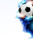 Piłki nożnej piłka z abstrakcjonistycznymi błękitnymi płatkami Zdjęcie Royalty Free