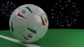 Piłki nożnej piłka z flaga Meksyk krzyżuje linię bramkową pod salutem, 3D rendering Zdjęcie Royalty Free