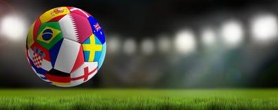 Piłki nożnej piłka z flaga projektem Katar 3d-illustration royalty ilustracja