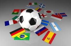 Piłki nożnej piłka z flaga, piłki nożnej rywalizacja ilustracji