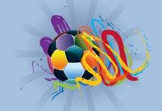 Piłki nożnej piłka z Szczotkarskimi uderzeniami Obraz Royalty Free