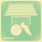 Piłki nożnej tapeta z futbolowym butem, piłką, celem i zwolennikami w retro stylu, Zdjęcia Royalty Free