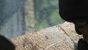 Piłujący drewnianą deskę z piłą łańcuchową, mężczyzna piłuje drewno dla domowego use, boczny widok, proces piłowanie, drewniany t zbiory wideo