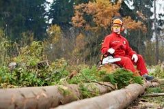 piły łańcuchowej lasowy lumberjack pracownik Zdjęcia Stock