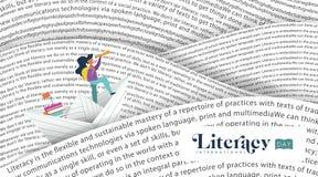 Piśmienność dnia sztandaru książki morze dla dzieciak edukaci Obrazy Stock