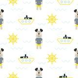 Piżamy chłopiec wzór z tilda żeglarza psa bezszwowym wektorem royalty ilustracja