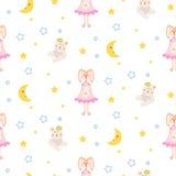 Piżamy deseniują z tilda królikiem, niedźwiadkowej mokiet zabawki bezszwowy wektor ilustracja wektor
