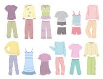 Piżamy dla małych dziewczynek ilustracja wektor