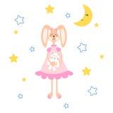 Piżamy ilustracyjne z tilda królikiem, niedźwiadkowy mokiet zabawki wektor dla odzież druku royalty ilustracja