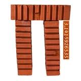 Pi字符由砖做成 免版税库存照片