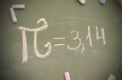 Pi数字的图象在校务委员会的与白垩 免版税图库摄影