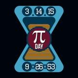 Графики оформления футболки дня Pi, вектор Стоковое Изображение