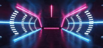 Pi?ce grunge concr?te rougeoyante futuriste au n?on vibrante fluorescente Hall Studio de plancher de r?alit? virtuelle de Sci fi  illustration stock