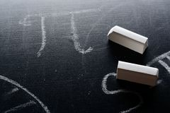 PI and chalk on a blackboard. F royalty free stock photo