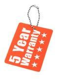 Pięcioletnia gwaranci etykietka Zdjęcia Stock