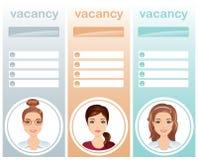 Pięcioliniowa rekrutacja, wakat kobiety Zdjęcia Stock