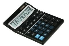 Pi constant. On the display of the new black calculator Stock Photo