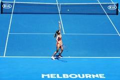 Pięć czasów wielkiego szlema mistrz Maria Sharapova Rosja w akci podczas ćwierćfinału dopasowania przy australianem open 2016 Fotografia Stock