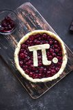 Pi Day Cherry Pie. Making homemade traditional Cherry Pie with Pi sign for March 14th holiday, on rustic background, top view royalty free stock photos