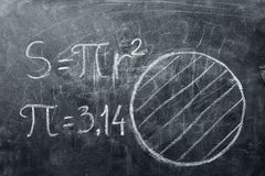PI day concept. Drawings circles and formulas with PI. PI day concept. Drawings of circles and formula with the number PI written on a blackboard royalty free stock image
