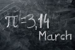 PI day concept. The value of PI and date. PI day concept. The value of PI and the date written on the blackboard royalty free stock photos