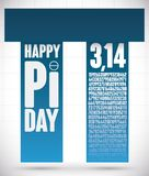 Pi Day Design with Pillar Structure like Pi Symbol, Vector Illustration. Poster with pi like a pillar structure with numeric value of this mathematical constant royalty free illustration
