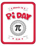 Pi Day, March 14, Celebrate Math!. Happy Pi Day, March 14, to celebrate the mathematical constant pi, 3.14, and to eat lots of fresh baked sweet pie royalty free illustration