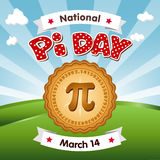 Pi Day, March 14, Eat Pie. Pi Day, March 14, to celebrate the mathematical constant pi and to eat lots of fresh baked sweet pie, international holiday, red polka Stock Illustration
