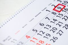 Pi Day. 9 March mark on the calendar. Close-up stock image