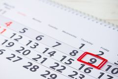 Pi Day, National Dentists Day, Victory Day. Day number 9 mark on. The calendar, close-up stock photos