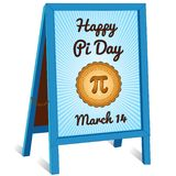 Pi Day Sign, folding sidewalk easel sign, March 14 vector illustration