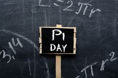 PI day sign on the school Board. F royalty free stock image