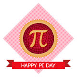 Pi Day vector background. Baked cherry pie with Pi Symbol and ribbon. Mathematical constant, irrational number Stock Images