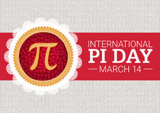 Pi Day vector background. Baked cherry pie with Pi Symbol and ribbon. Mathematical constant, irrational number Stock Photo