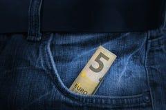 Pięć Euro rachunek Obraz Stock