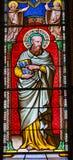 Pi för helgonThadeus Jude Apostle Stained Glass Baptistery domkyrka arkivbilder