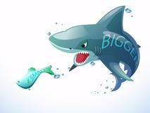 Lo squalo mangia i piccoli pesci Fotografia Stock Libera da Diritti