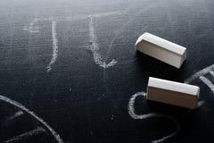 PI i kreda na blackboard zdjęcie royalty free