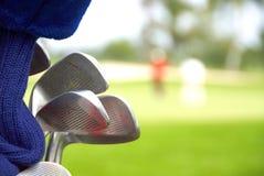 Piłka golfowa na trójniku i zieleni Zdjęcia Royalty Free
