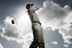 piłki golfowa golfisty strzelanina Zdjęcie Stock