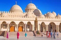 Piękna architektura Hurghada Marina meczet w Egipt Fotografia Stock