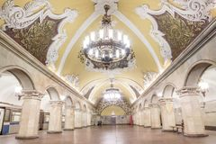 Piękna architektura w Komsomolskaya staci metru przy Moskwa Obrazy Stock