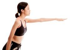 Piękna Azjatycka zdrowa dziewczyna robi joga pozie Zdjęcie Stock