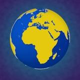 Piękna barwiona 3d ilustracja Ziemski widok Afryka i Europa Zdjęcia Royalty Free