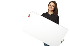 Piękna biznesowa kobieta trzyma sztandar Obrazy Stock