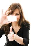 piękna bizneswoman karta trzyma white Obraz Stock