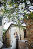 Piękna bridal para przy zmierzchem na ulicach Wenecja Fotografia Stock
