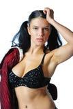 piękna brunetka ona z zabranie Zdjęcia Royalty Free