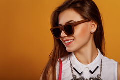 piękna brunetki mody portreta kobieta Obraz Stock